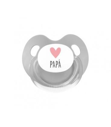 Chupete Retro Corazón Papá rosa/gris