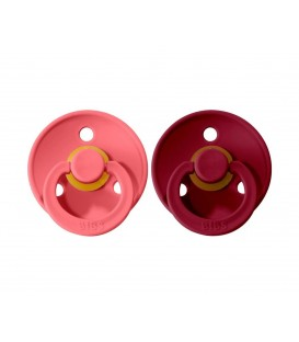 Pack 2 Chupetes BIBS Coral/Ruby