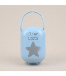 Portachupetes Azul- Estrella Plata