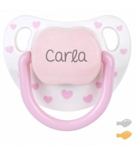Chupete Baby Chic Blanco Rosa Personalizado