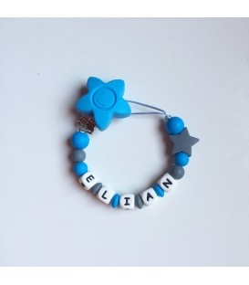 Chupetero azul con estrella gris