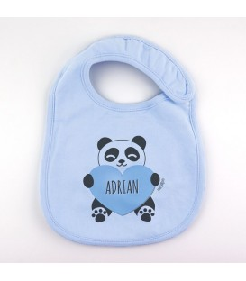 Babero Personalizado + Oso Panda corazón Azul