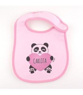 Babero Personalizado + Oso Panda corazón Rosa
